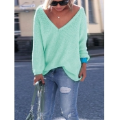 Leisure V Neck Long Sleeves Green Wool Sweaters