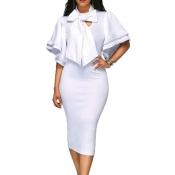 Moda V Cuello Medio Mangas Bow-tie Decoración Vestido De Algodón Blanco Longitud De La Rodilla Vestido