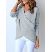Lovely Euramerican V Neck Long Sleeves Asymmetrica