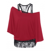 Trendy Dew Shoulder Lace Combination Red Cotton To