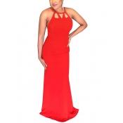 Sexy cuello redondo ahuecado rojo vestido de longitud de poliéster de longitud