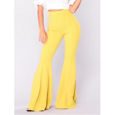 Leisure High Waist Falbala Design Yellow Polyester Pants
