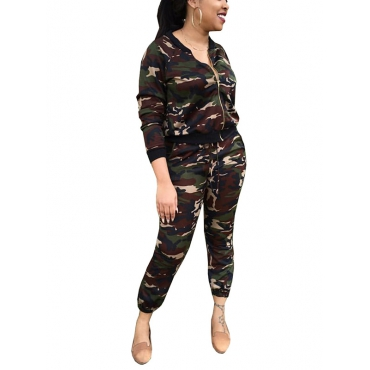 Leisure V Neck Camouflage Printed Polyester Two-piece Pants Set
