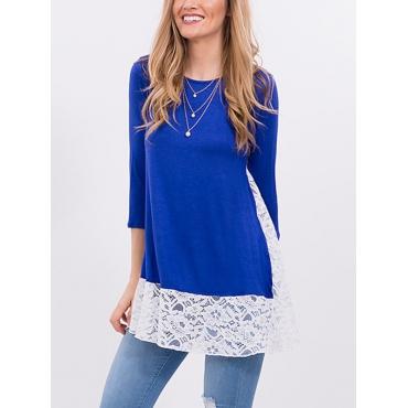Stylish Round Neck Long Sleeves Lace Patchwork Blue Polyester Shirts