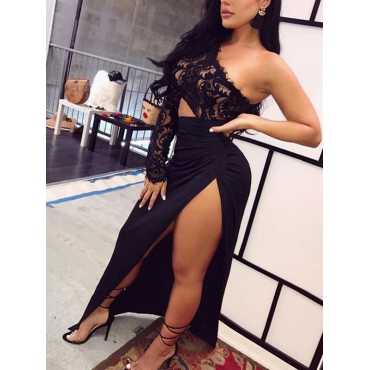 Lovely Polyester Sexy Bateau Neck One Shoulder Long Sleeve Sheath Ankle Length Dresses