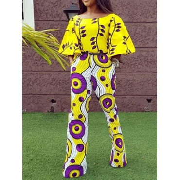 Euramerican Round Neck Printed Yellow Polyester One-piece Jumpsuits