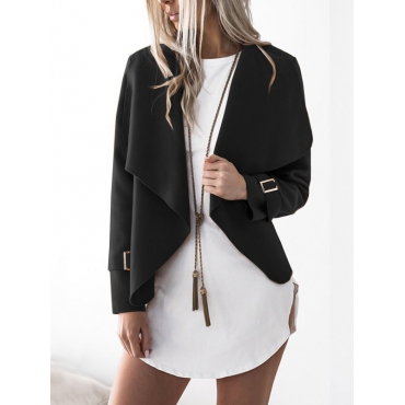 Lovely Euramerican Turndown Collar Long Sleeves Asymmetrical Black Polyester Jacket