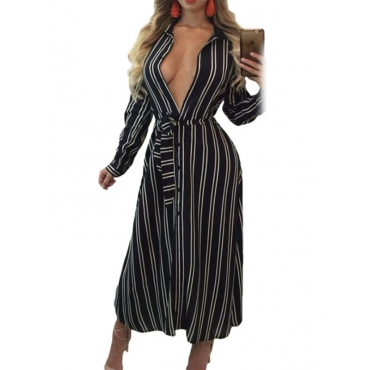 Stylish Long Sleeves Striped Polyester Ankle Length Dress(Non Positioning Printing)