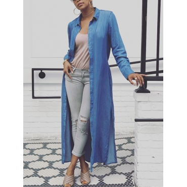 Stylish Turndown Collar Long Sleeves Blue Denim Long Coat
