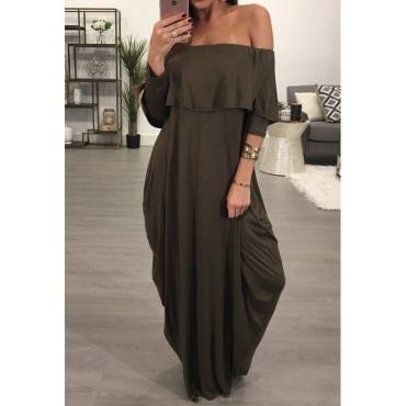 Moda Dew hombro falbala diseño gris-verde algodón mezcla de tobillo vestido de longitud