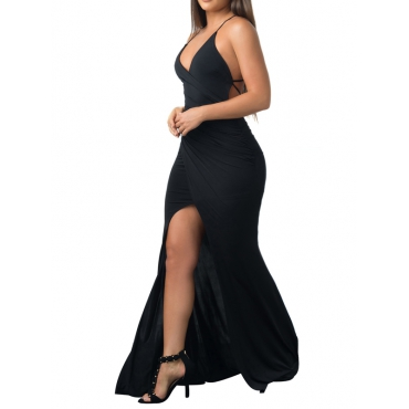 Sexy Backless Black Milk Fiber Sheath Ankle Length Dress