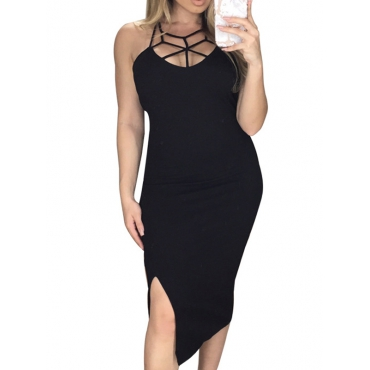 Sexy Round Neck Hollow-out Black Polyester Sheath Knee Length Dress