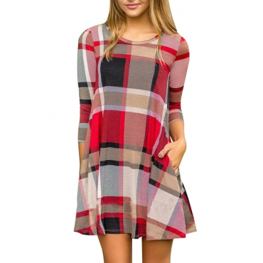 Casual Round Neck Short Sleeves Plaids Red Cotton Mini Dress