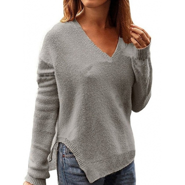 Leisure V Neck Long Sleeves Grey Cotton Sweaters