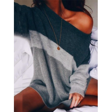 Leisure Round Neck Long Sleeves Striped Acrylic Sweaters