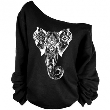 Leisure Dew Shoulder Elephant Print Black Cotton Blends Pullovers