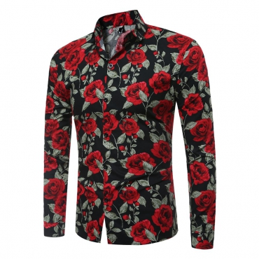 Trendy Long Sleeves Rose Printed Black Cotton Blends Shirts