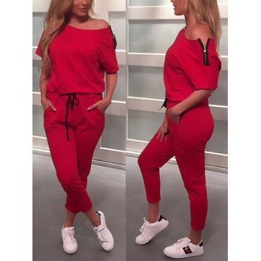 Leisure Dew Shoulder Red Cotton Blends One-piece Jumpsuits