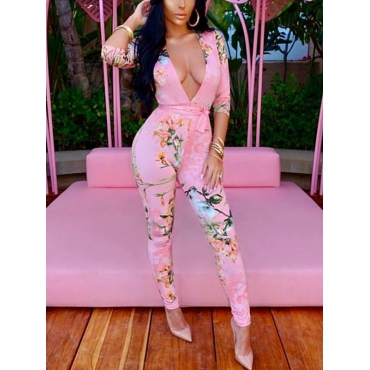 Sexy Deep V Neck Printed Pink Cotton One-piece Jumpsuits