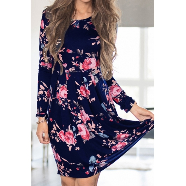 Floral Theme Long Sleeves Mini Dress