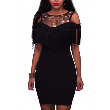 Sexy Round Neck Dew Shoulder Tassel Design Black Polyester Mini Dress