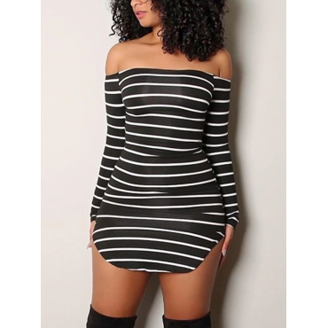 Euramerican Dew Shoulder Striped Milk Fiber Sheath Mini Dress