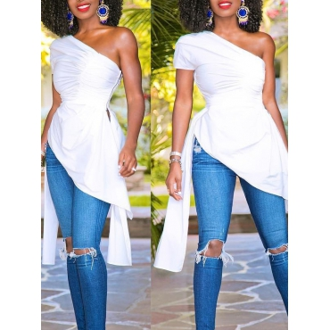 Trendy Dew Shoulder Asymmetrical White Polyester Tops