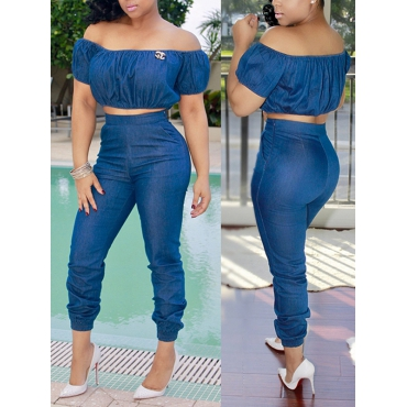 Trendy Dew Shoulder High Waist Design Blue Denim Two-piece Pants Set