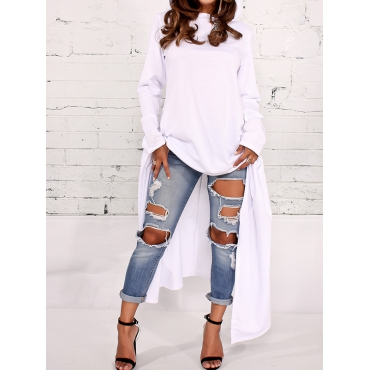 Leisure Round Neck Long Sleeves White Cotton Blends Pullovers
