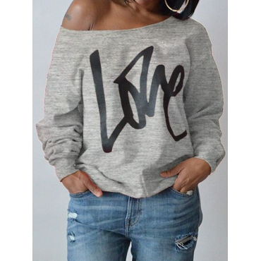 Lovely Leisure Round Neck Long Sleeves Letters Printing Grey Sweatshirt Hoodie