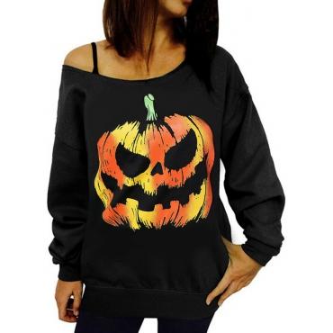 Leisure Round Neck Pumpkin Printing Black Cotton Pullovers(Halloween)