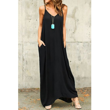 Casual V Neck Cotton Blend Black Cotton Blend Ankle Length Dress(Without Accessories)