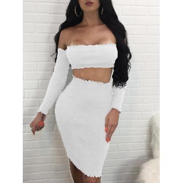 Algodón blanco de rocío de rocío blanco mezcla dos-piece Conjunto de la falda