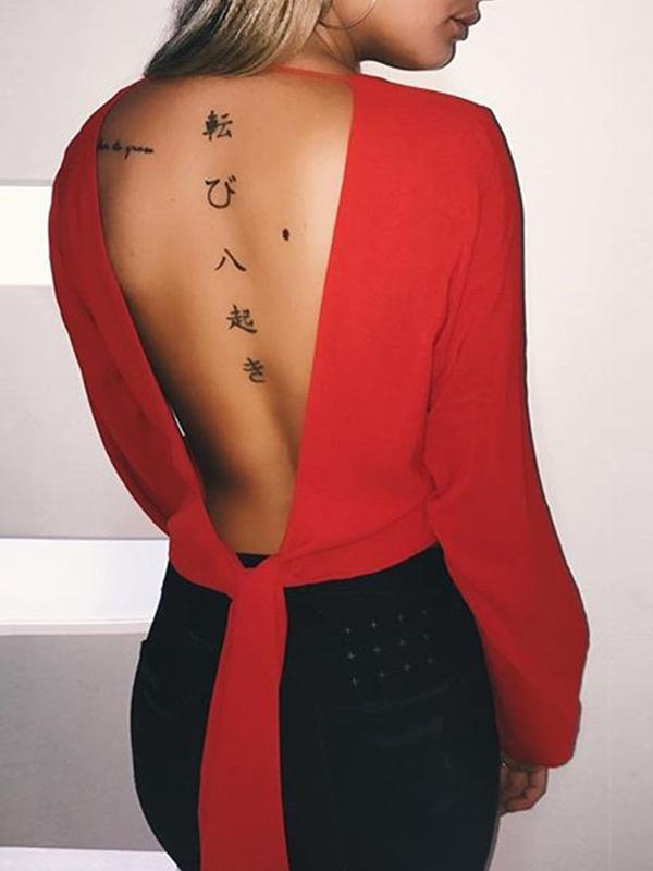 Cuello sexy V manga larga de gasa roja