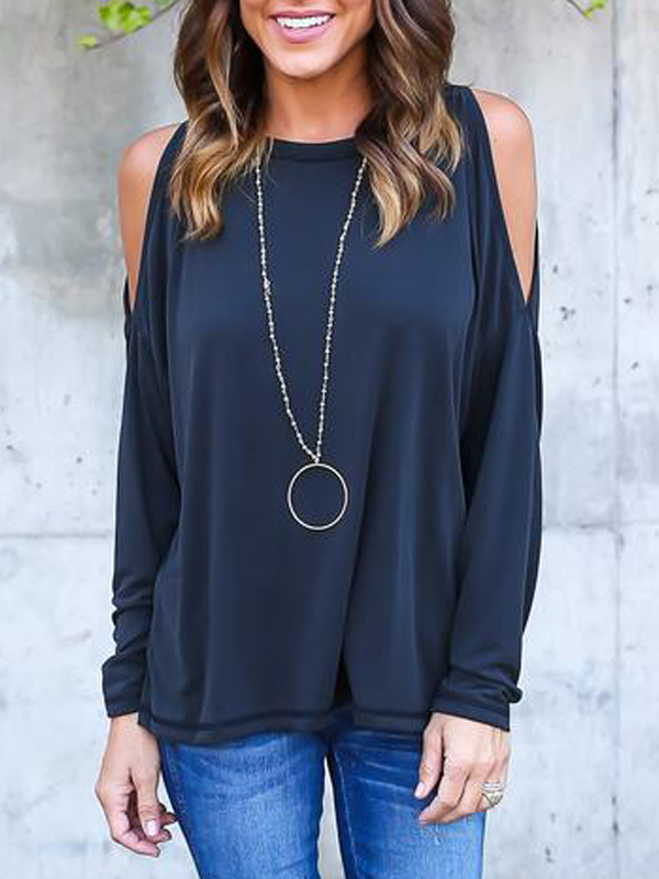 Leisure Round Neck Long Sleeve Hollow-out Navy Blue Cotton Blouses