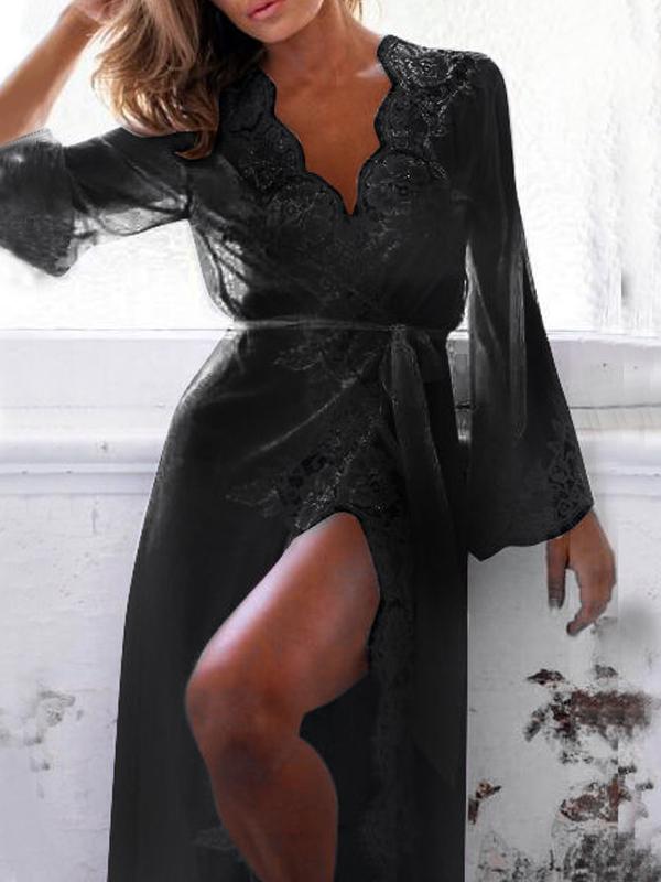 Sexy V Neck Gauze Splicing Black Lace Night-robe