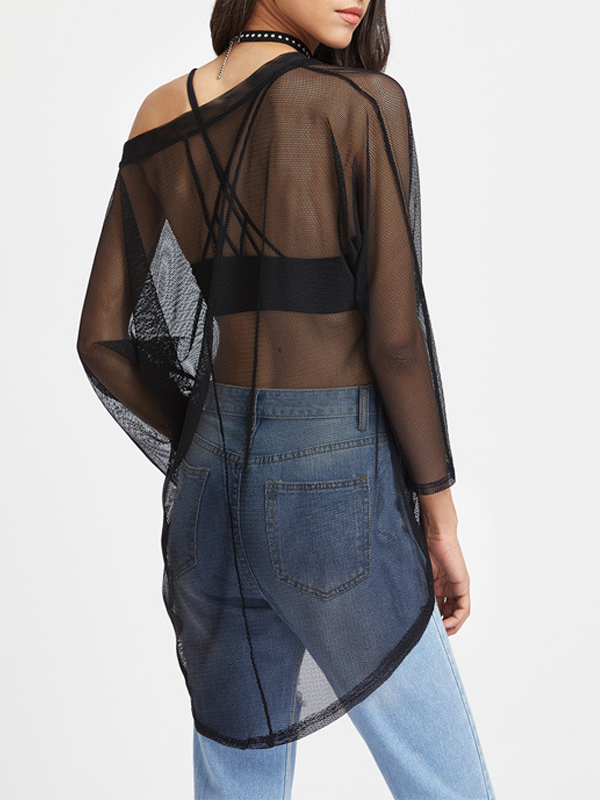 Sexy Long Sleeves See-Through Asymmetrical Black Cotton Tops
