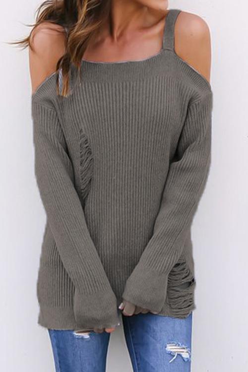 Off The Shoulder Broken Holes Sweaters