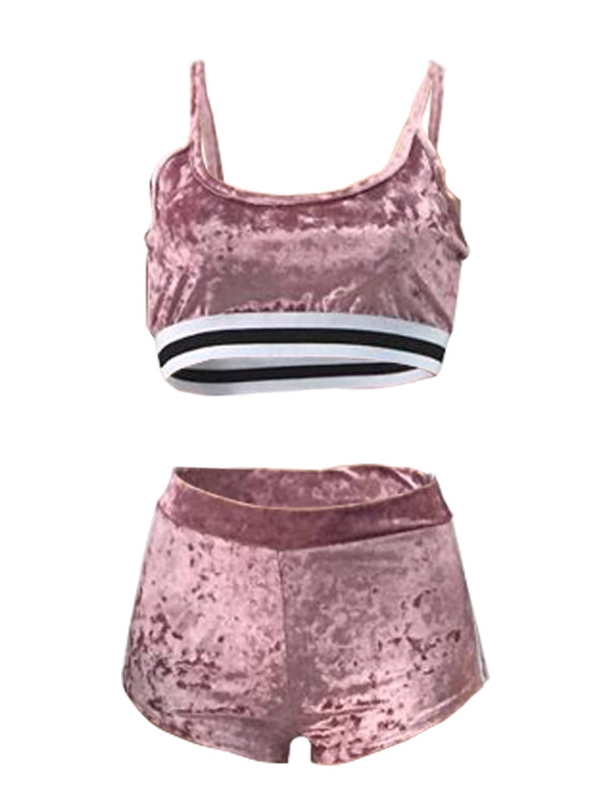 Sexy U-shaped Neck Patchwork Pink Velvet Two-piece Shorts Set