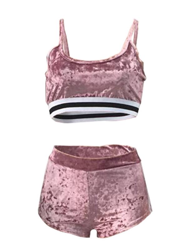 Lovely Sexy U-shaped Neck Patchwork Pink Velvet Two-piece Shorts Set