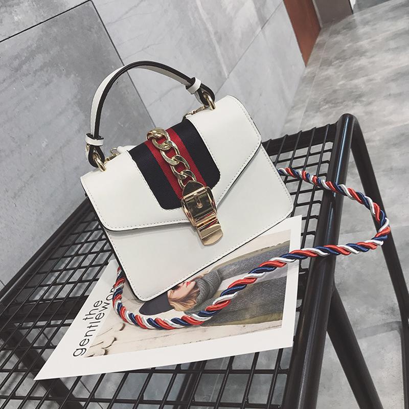 Moda Patchwork White PU Crossbody Bag