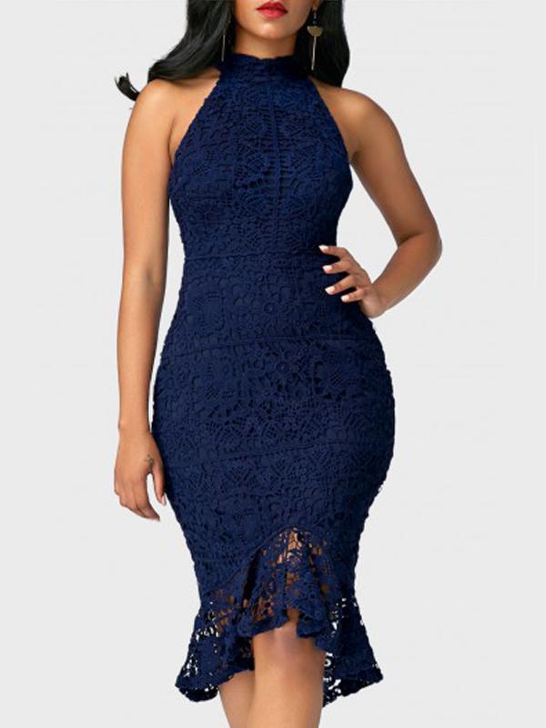 Noiva De Renda No Pescoço Redondo Na Moda Patchwork Blusa Azul Vestido Meados De Bezerro