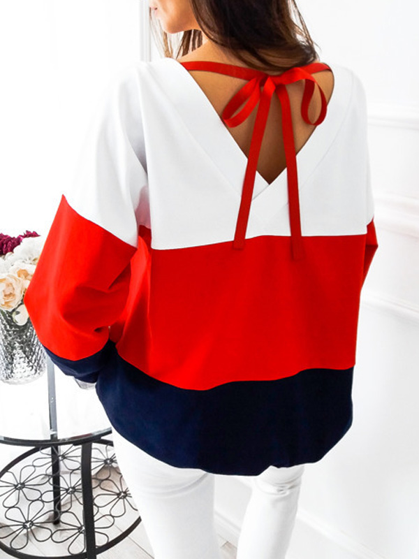 Leisure Round Neck Patchwork Red Cotton Blends Tops
