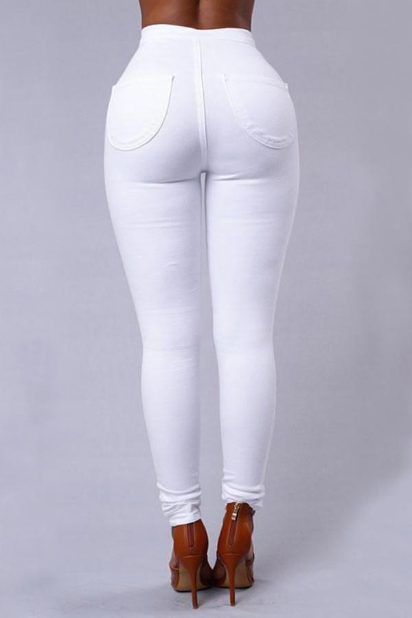 Pantaloni Denim Bianchi Design Zipper Design Elegante Elegante