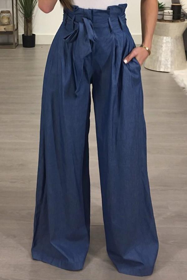 Pantalones De Algodón Azul Claro Con Cordón De Cintura Alta Con Estilo