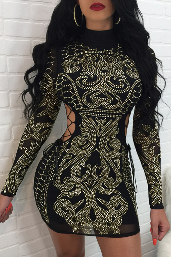 Sexy Hollow-out Rhinestone Decorative Black Polyester Mini Dress