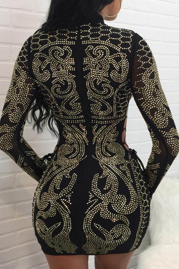 Sexy Hollow-out Rhinestone decorativo vestido de poliéster negro Mini