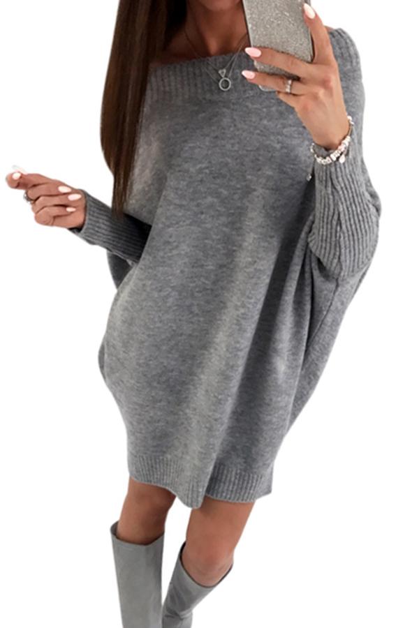 Trendy Dew Shoulder Grey Knitting Sweaters