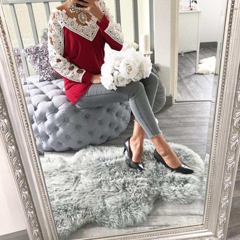 Leisure Long Sleeves Lace Trim Patchwork Wine Red Cotton Tops