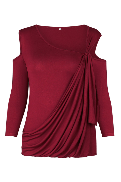 Sexy Dew Shoulder Long Sleeves Hollow-out Wine Red Cotton Blends Shirts